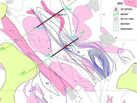 激电中梯视极化率等值线平面图